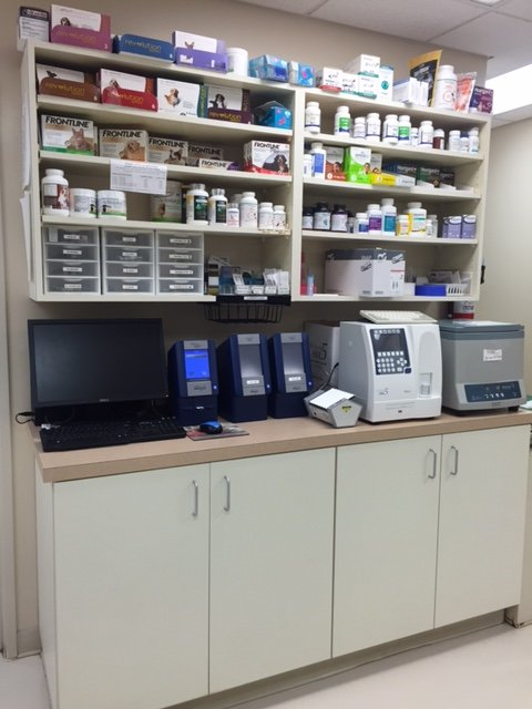 A view of the in house laboratory with several medical devises on the shelves